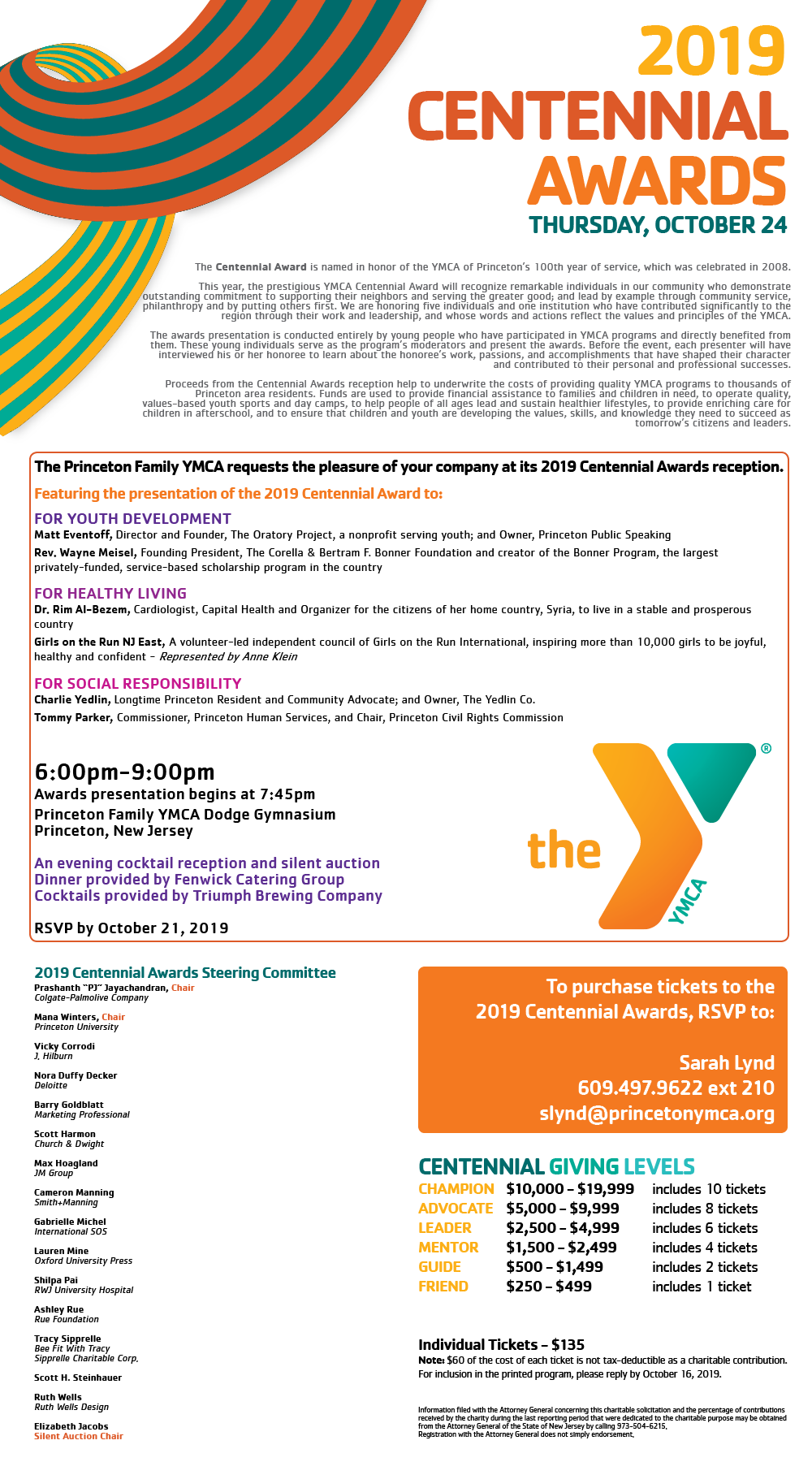 2019 Centennial Awards @ Princeton Family YMCA | New York | New York | United States